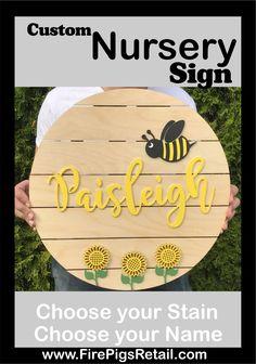 Sunflower Nursery sign, Bee Nursery Name sign, Nursery Name sign, Girls name sign Bee Nursery, Nursery Name, Nursery Signs, Nursery Wall Art, Nursery Decor, Nursery Ideas, Sunflower Nursery, Sunflower Wall Decor