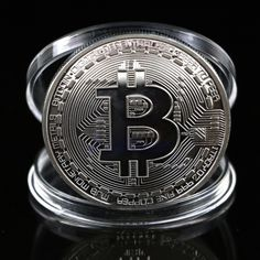 OOTDTY Coins Silver Plated Bitcoin Coin Collectible Commemorative  Coin Art Collection Gift