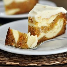 This looks like a perfect pair.  carrot cake cheesecake