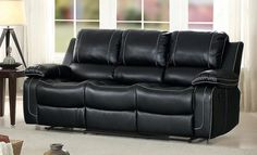Homelegance Oriole Double Reclining Sofa Air Hyde Breathable Faux Leather with Drop Down Center Cup Holders Black -- Check out extra at the picture link. (This is an affiliate link). Double Recliner Loveseat, Modern Recliner, Sectional Sleeper Sofa, Glider Recliner, Leather Recliner Chair, Sofa Sale, Leather Sofas, Black Couches