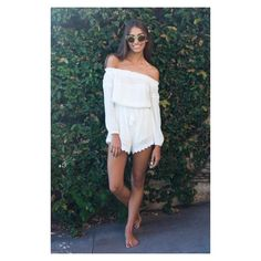 White Fox Boutique Romper Description - Elasticated Top - Tassel Drawstring Waist - Crochet Detail on Bottom - Off the Shoulder Playsuit / Romper  Fabrication Cotton Polyester  Sizing Model is a Size 06 (XS) & is wearing a Size 06 (XS) Model is 172cm Tall White Fox Boutique Dresses