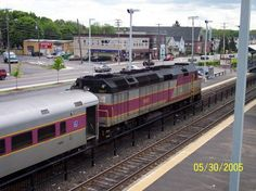 Photo of MBTA engine 1067 pushes train 558 out of Framingham.