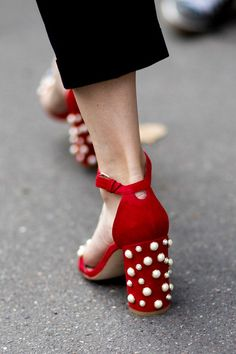 Gorgeous heels! Heels Street Style—An embellished heel gives an unexpected element to an otherwise basic shoe.