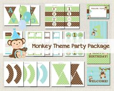 Monkey Theme Printable Party Package Boys by PixiePerfectParties Happy Birthday Bunting, Girl Birthday, Birthday Parties, Party Packs, For Your Party, Party Printables, Birthday Invitations, Thank You Cards, Monkey
