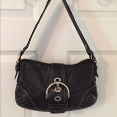 Selling this  Coach F10188 Black Leather Shoulder Bag in my Poshmark closet! My username is: saccardi. #shopmycloset #poshmark #fashion #shopping #style #forsale #Coach #Handbags