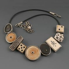 Kristi Zevenbergen: Found Obects Necklace in sterling silver and gold, with rubber cord. Clay Jewelry, Metal Jewelry, Jewelry Crafts, Jewelry Art, Beaded Jewelry, Silver Jewelry, Jewelry Necklaces, Jewelry Design, Bracelets