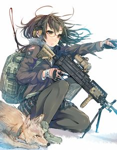 Gelbooru- Image View - 1girl bag black hair black legwear breath brown eyes coyote daito glasses gloves gun headphones headset highres jacket long hair original pantyhose pointing scope skirt snow solo squatting stand weapon | 1871804