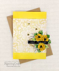 Altenew: PAINTED FLOWERS & LABEL LOVE, Martha Stewart Floral Doily Stencils on vellum paper and dabbed it using white acrylic paint, Yoonsun Hur