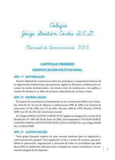 Colegio Jorge Gaitán Cortes. Manual de Convivencia 2015
