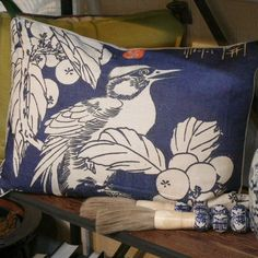 Linen Blue and White Bird on Branch Pillow