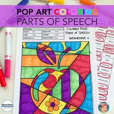 "Contemporary and fun ""pop art"" parts of speech coloring pages from Art with Jenny K."