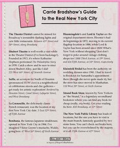 Carrie Bradshaw's Guide to the Real New York City- Sex & The City