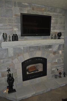 Stoned Fireplace with Limestone mantle, hearth, and trim stones Iron Cut Cobble J&N Stone