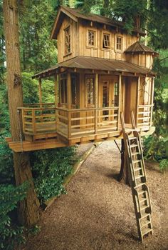 Classic treetop cabin Resting between a couple of trees, this cabin looks like it's from another era. It's not exactly kid friendly, but still an amazing design.