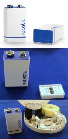 """The Roost 9V Smart Battery takes an existing smoke or CO2 detector and makes it """"smart"""" enough to send alerts to a smartphone. The $35 lithium Roost is the same size as a standard 9V battery, but has a Wi-Fi adapter on the bottom which links to a home network. If the alarm goes off, the Wi-Fi adapter wakes up and sends an alert through the cloud to all linked smartphones and tablets. A free app monitors the battery's status and lets users share smoke-alarm alerts with friends and neighbors."""