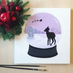 Snow Globe Painting Deer Silhouette Winter Christmas Acrylic Drawing