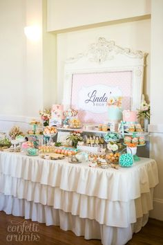 pink and aqua table High Tea Dessert Table
