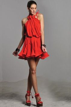 Red Ruffled Dress.