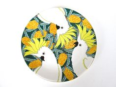 Barbara Swarbrick Sulphur Crested Cockatoos Plate, Australian Bird Side Salad Plates, Yellow Cockatoo Luncheon Plate, Tropical Bird Plate by HerVintageCrush on Etsy
