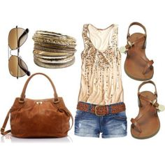 Spring Outfit- Gold and nude top. jean shorts. Sandals.