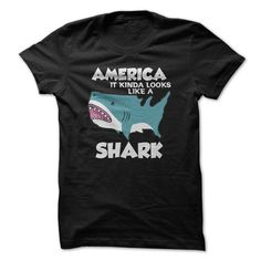 America Shark T Shirts, Hoodies. Get it here ==► https://www.sunfrog.com/Funny/America--Shark.html?41382