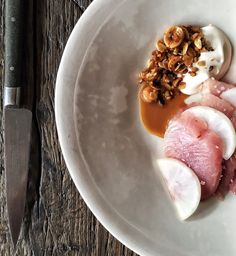 Photo of Septime - Paris, France. Bonite, daikon and hazeulnut granola Paris Restaurants, Travel And Leisure, Granola, 50th, World, Ethnic Recipes, Summary, Bucket, Muesli