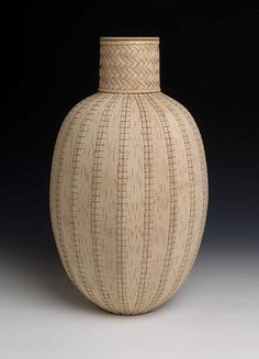 Dona Look Basket #10-3 2010 White birch bark and waxed silk thread 18 3/4 x 11 x 11 inches