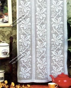 Curtain with diagram, filet work