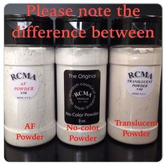 Hi everyone, I wanted to make this post because I don't want people to be confused about our powders. PLEASE NOTE that our AF powder and Translucent powder are NOT the same as our No-Color powder! Translucent powder has pigment in it to give a little warmth to the skin tone. AF powder is used in Special Effects to dull the shine on Rubber Mask greasepaint. And The No-Color powder is the one that has no pigment and will not alter your foundation tone. Thank you! #rcma #rcmamakeup #nocolor...