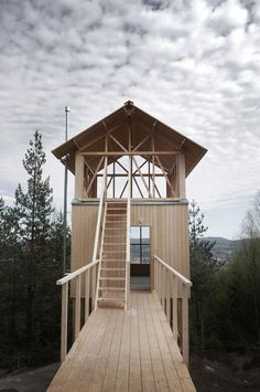 Swedish architect Hanna Michelson has completed a two-storey timber cabin on stilts, as the first of four getaways built for the Bergaliv Landscape Hotel.