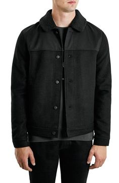 0655532f58 Black Wool Rich Borg Collar Jacket Borg Collar Jacket