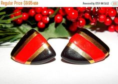 Red Black and Gold Triangle Earrings by SpringJewelryThings