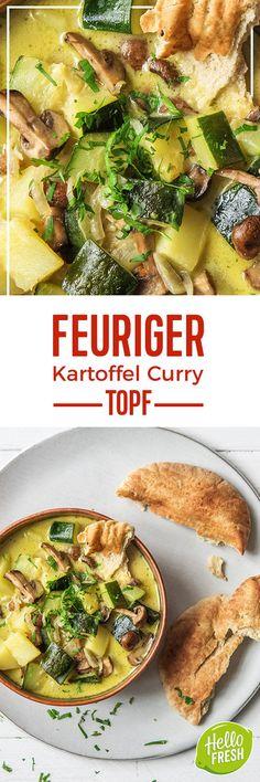 Step by Step Rezept: Feuriger Kartoffel-Curry-Topf mit braunen Champignons und Zucchini Kochen / Rezept / DIY / HelloFresh / Küche / Lecker / Gesund / Einfach / Kochbox / Ernährung / Zutaten / Lebensmittel / 30 Minuten / Veggie / Vegetarisch / Scharf / Asiatisch / Asien / Laktosefrei #hellofreshde #blog #kochen #küche #gesund #lecker #rezept #diy #gesund #einfach #kochbox #ernährung #lebensmittel #zutaten #laktosefrei #curry #eintopf #gemüse #vegetarisch #veggie