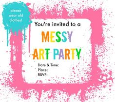 Messy Art Party Invitations: free printables in two colour schemes! | Best Birthdays