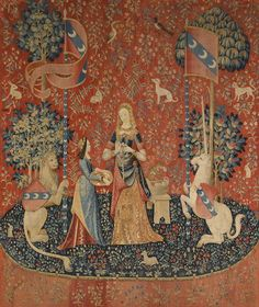 "The Lady and the Unicorn,""The smell"" (French: La Dame à la licorne, L'odorat ) also called the Tapestry Cycle is the title of a series of six Flemish tapestries depicting the senses. They are estimated to have been woven in the late 15th century in the style of mille-fleurs."