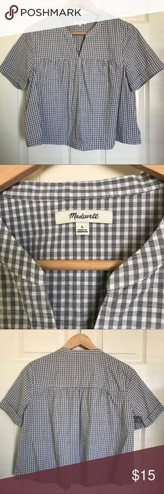 Gingham grey crop Madewell blouse No flaws at all- like new! Let me know if you have any questions!! It's a size large.. I say it fits more like a medium. :) Madewell Tops Crop Tops