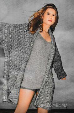 Жакет оверсайз с рукавом летучая мышь схема спицами » Люблю Вязать