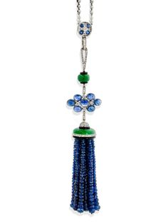 A sapphire, diamond, onyx and platinum necklace, by Tiffany, Art Deco period