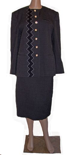 Louis Feraud Black and White Women Suit zig zag and by SanMonet, $155.00