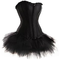 Plus Size Sexy Black Lolita FANCY DRESS Corset Tutu Skirt Set at... ($23) ❤ liked on Polyvore featuring dresses and corset