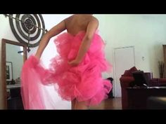 Tutorial DIY No Sew Loofah Halloween Costume. Made with a tube dress, ten yards of netting type tulle, a cord, and safety pins.