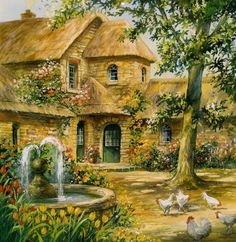 Jim Mitchell - Jim Mitchell is an English based illustrator specializing in greeting cards and older children's illustration. Thomas Kinkade, Paintings I Love, Beautiful Paintings, Jim Mitchell, Landscape Paintings, Watercolor Paintings, Creation Image, Kinkade Paintings, Paradise Places