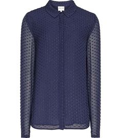 Reiss Springer Textured Semi Sheer Shirt | Top and Clothing
