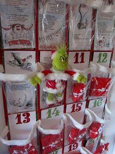 Grinch advent calendar- great idea! Shoe organizer prizes! Solves the 3 kids 1 chocolate advent argument.
