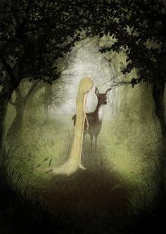 Misty woodland  Illustration print size 5 x 7 by majalin on Etsy, kr110.00