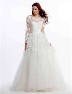 Lan Ting A-line Wedding Dress - Ivory Court Train Scoop Lace / Tulle 2016 - $219.99