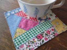 "Crazy Patchwork Miniature Mug Rug Quilt 100%Cotton5 1/2""Sq Vintage Fabric Prints"