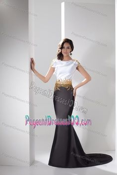 Trumpet White and Black Beaded Cap Sleeves Pageant Gowns