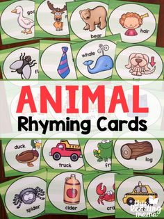 Fun Rhyming Songs {with Free Rhyming Cards Free Animal Rhyming Cards – fun to sing with Down by the Bay – This Reading Mama Rhyming Activities, Preschool Literacy, Early Literacy, Kindergarten Reading, Teaching Reading, Rhyming Kindergarten, English Activities, Preschool Books, Language Activities