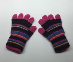 Striped Gloves Pink And Black Thick With Sparkles #WinterGloves #Winter